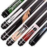 AB Earth Pool Cue Stick Billiard 2 Piece 58 Inches Set of 6 House Bar Pool Sticks with Screw-on and Glue-on Tips (Screw-on tip cues E)