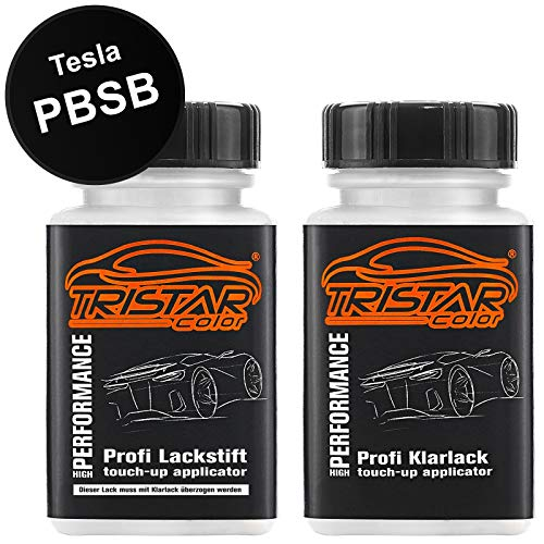 TRISTARcolor Autolack Lackstift Set für Tesla PBSB Eclipse Black/Sierra Black Basislack Klarlack je 50ml