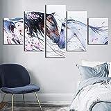 MWMMWLH Stampe e Quadri su Tela 5 Panel Animali Cavalli Dipinti Decorativi per La Casa Poster Modulari Soggiorno Taglia C (Senza Cornice)
