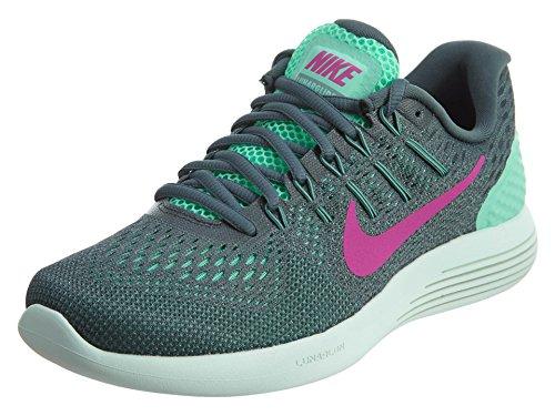 NIKE Women's Lunarglide 8 Shoe Green Glow/Hasta/Cannon/Fire Pink 6