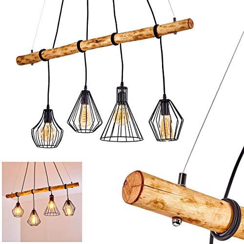 Pendelleuchte Seegaard, Hängelampe aus Metall/Holz in Schwarz/Braun, 4-flammig, 4 x E27 max. 60 Watt, moderne Hängeleuchte geeignet für LED Leuchtmittel