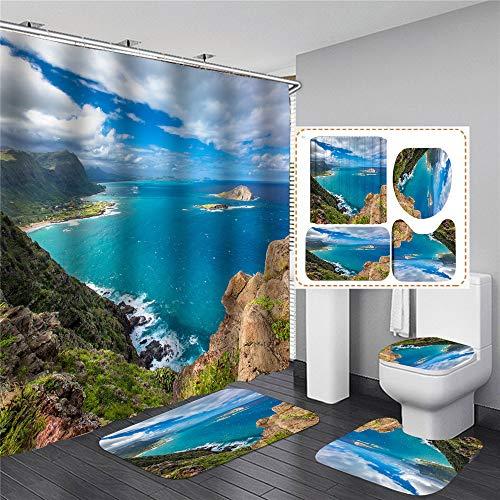 xingyundeshoop Nice Bay Scenery Cortina De Ducha Impermeable Lavable Baño Tejido De Poliéster Alfombrilla De Baño Traje De Cuatro Piezas 120 (Ancho) X180 (Alto) Cm