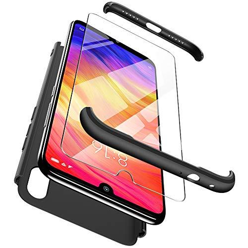 ivencase Cover Xiaomi Redmi Note 7 + Vetro Temperato, Premio Ibrido Rugged 3 in 1 Duro AntiGraffio Macchia PC Custodia Protettiva 360 Gradi Cover per Xiaomi Redmi Note 7 - Nero