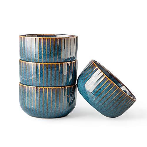 CSYY 4er Set Müslischalen aus Porzellan, Keramik kleine Schalen, Dessertschale, Snackschale, Schüssel Retro Geschirr, Blau Serie(11.5CM)