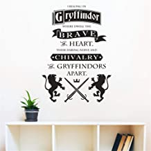 wuenan Wall Decal Sticker Art Mural Home Decor Harry Potter Gryffindor Brave at Heart Quote Art Stickers Mural for Homes Schools Libraries Offices Décor