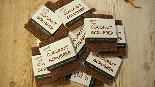 The Eco Scrubber | 3 pack Eco Friendly Scourers | Made with Plastic Free Non Scratch Coconut Fibres and a Biodegradable Latex Sole