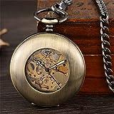 Mano de obra elegante y simple, exquisita, buenos Reloj de bolsillo Antiguo Liso Mecánico FOB Cadena Arabe Numerales Vintage Mano Viento Ver Esqueleto Pendiente Hombres Mujeres Reloj de regalo