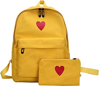 FENICAL Canvas Backpack Shoulder Bag Travel Day Pack Student Brief Loving Heart Rucksack with Zipper Wallet 1pc (White)