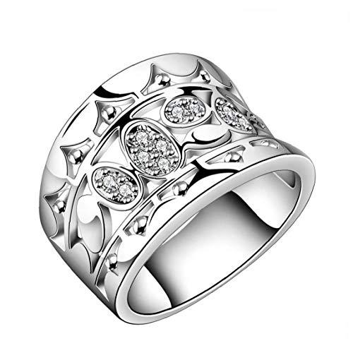 NaisiCore Diamantes circón Anillo Ancho de Mujeres Hermosas Cristal Natural de 925 esterlina sólida Anillo de Plata R570 Tamaño 7