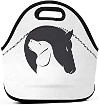 Travel Case Lunchbox with Zip Animal,Contemporary Image of a Dog and Horse Hugging Loyal Friend Icon Heads Artsy Print,Black White,book bag and lunch box set for girls