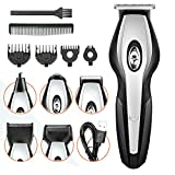 Hair Clippers for Men, 6 in 1 Professional Cordless Hair Trimmer Beard Shaver Electric Haircut Kit Ceramic Blade IPX7 Waterproof and USB Rechargeable(Black)