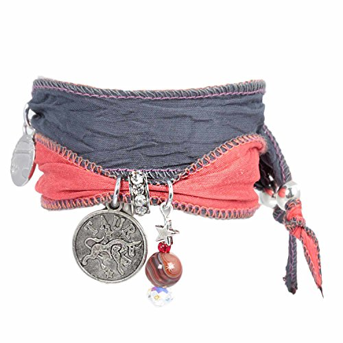 Anisch de la Cara damesarmband stier - Signs of Zodiac sterrenbeeld armband van Indiase Saris Signs of Zodiac - artnr. 2260-d