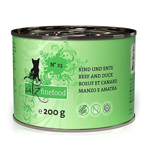 catz finefood N° 23 Rind & Ente Feinkost Katzenfutter nass, verfeinert mit Cranberry & Aloe Vera, 6 x 200g Dosen