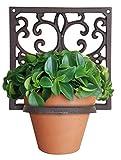 Esschert  - Esschert Design Pared Ornamental En Hierro Del Diseño Del Estilo Antiguo, De Alrededor De 7.2inx 6inx 7.2in, Color: Marrón Quemado