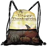 Drawstring Bundle Bags Gym Fitness Backpacks for Men Women Boys Girls Sports Hiking Cycling Camping, Happy Thanksgiving Pumpkins On Rustic Wooden Boards,16.5