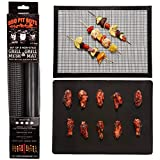 BBQ Pit Boys Grilling Mat & Mesh Combo Value Pack - Non-Stick Barbecue Rollable Cooking Mat & Mesh - Heavy Duty, Dishwasher Safe, Reusable Indoor Outdoor Use
