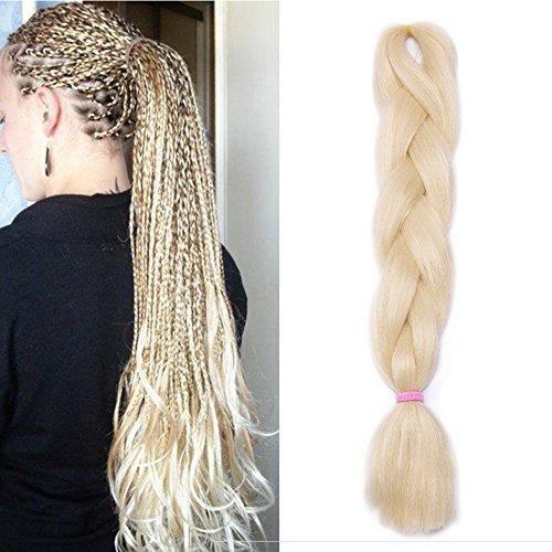 Capelli per Treccine Africane Extension Afro Trecce Lunghe 60cm Treccia Finta Braiding Hair Sintetici Ombre Crochet Fibre 100g - Biondo Chiarissimo