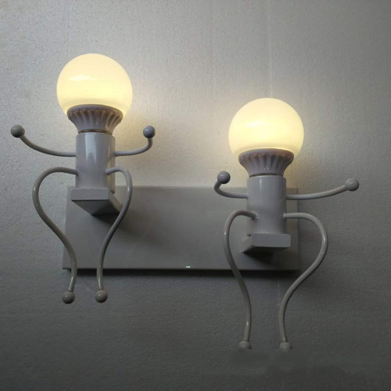 LEDMOMO E27 Wandleuchte Vintage Eisen Licht Menschen Cartoon Hngelampe Retro Licht Schne Pendelleuchte für Restaurant Wohnzimmer Küche ohne Birne (Wei)