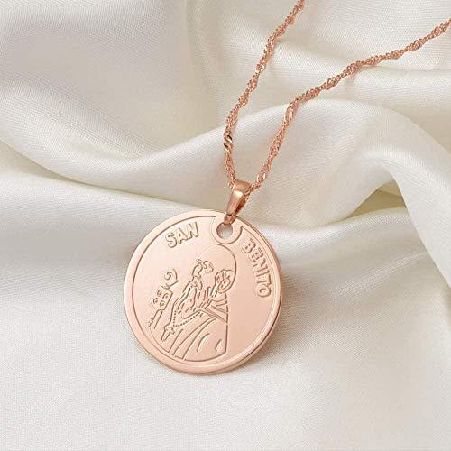 FACAIBA Collares San Benito Colgante Collar joyería Religiosa Collares para Mujeres joyería de la Iglesia católica