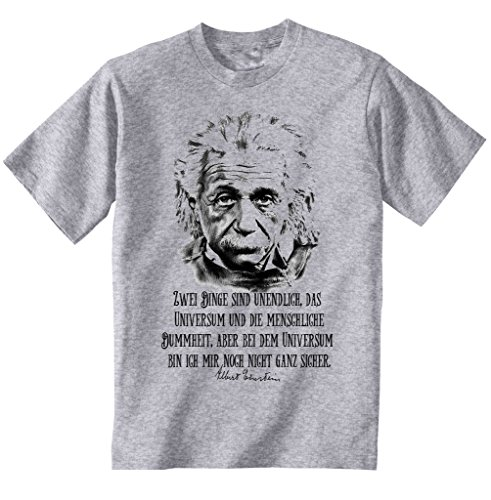 teesquare1st Men's Albert Einstein Universum Zitate Grey T-Shirt Size XLarge