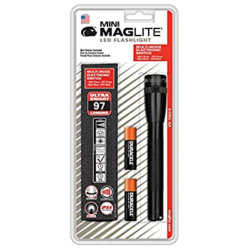 Mag-Lite Mini 2AA LED, 97 lumens, 17 cm noir avec 2 AA piles et étui en nylon, SP2201H