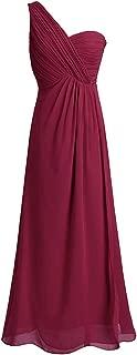 CAFSKYE One Shoulder A Line Bridesmaid Dresses Long Chiffon Wedding Princess Floor Length