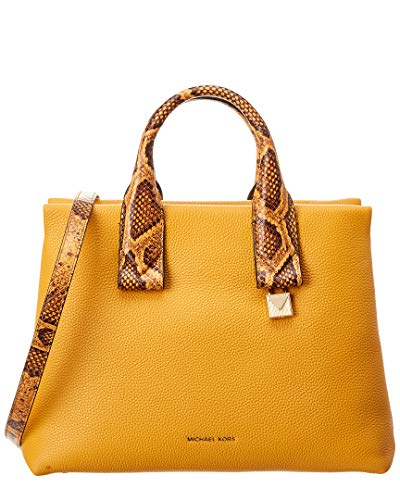 "100% Pebbled Leather with snake embossed accents; Gold-tone hardware Measures 13.5""W X 10""H X 5.5""D Adjustable Strap: 20""-22""; Handle Drop: 4"" Interior Details: Back Zip Pocket, 2 Back Slip Pockets, 4 Front Slip Pockets Zip Fastening"
