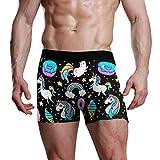 REFFW Ultra Soft Premium per Uomo Boy Bulge Pouch Mutande Slip da Uomo Boxer Unicorno Arcobaleno Ciambella Gelato Vintage Intimo Comodo Boxer Boxer Tronco