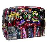 TIZORAX - Bolsa de maquillaje hecha a mano para marionetas de PVC, bolsa de maquillaje, artículos de aseo de viaje, práctica bolsa organizadora para mujeres