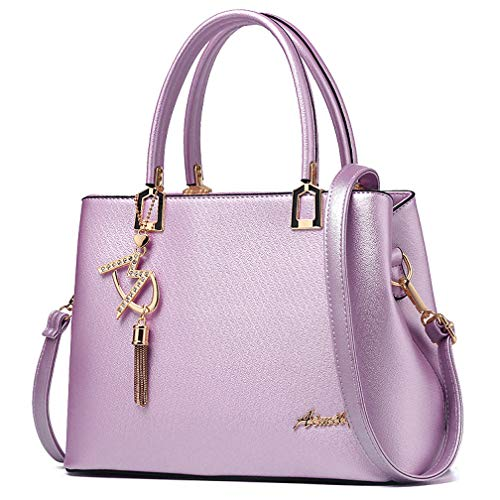 Womens Purses and Handbags Shoulder Bags Ladies Designer Top Handle Satchel Tote Bag (Light Purple)