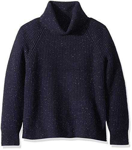 J.Crew Mercantile Damen Chunky Knit Turtleneck Sweater Pullover, Heather Navy Donegal, X-Klein