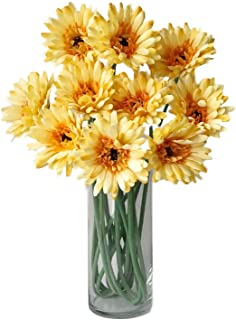 Rae's Garden Artificial Flowers Realistic Fake Flowers Gerbera Daisy Bridal Wedding Bouquet for Home Garden Wedding Party Decorations 10 Pcs (Yellow)