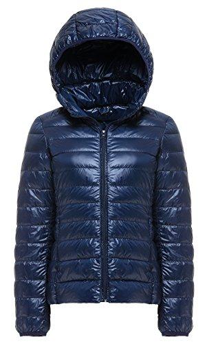 Cheerun Damen Paket-Daunenjacke, mit Kapuze, Ultra leicht, Kurze Daunenjacke - Blau - Mittel