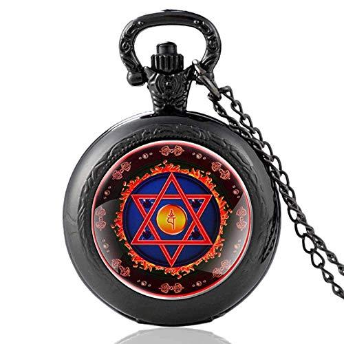Reloj de Bolsillo y Cadena Vine Bronce Cuarzo Reloj de Bolsillo Vine Hombres Mujeres Collar Colgantes Reloj Menorah Estrella de David Hermoso práctico