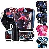 VELO Guantes de boxeo para niños Mitones para niños 6 oz, 4 oz Bolsa de entrenamiento Sparring Gel Punch Glove mma Punchbag Pad Punching (6 oz, Spiderman)