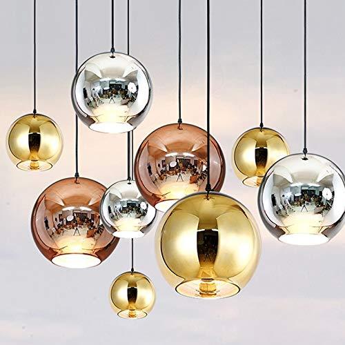 RAQ spiegel kroonluchter licht E27 gloeilamp LED hanglamp moderne glazen bol verlichting 03 Gouden kleur 20 cm
