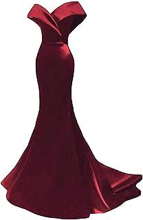 Women's Off The Shoulder Mermaid Prom Dress Elegant Satin Evening Dress