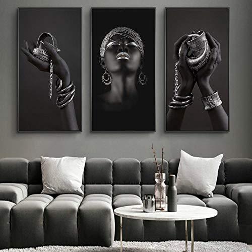 MuzimuziliManos Negras Con Joyas De Plata Pinturas De Lienzo En La Pared Carteles De Arte Impresiones Mujer Africana Cuadro De Arte Decoración De La Pared Del Hogar-50X100Cmx3Pcs Sin Marco