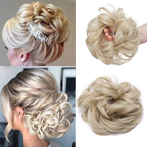 Updo Hair Extensions Haarteil Haargummi Haarknoten Weich Haarverdickung Natürlich Dutt Haarteil mit Gummiband Haargummi mit Haaren 35g #Blond & Bleichblond