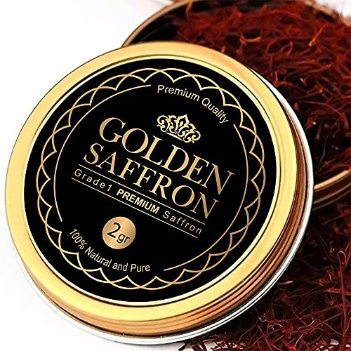 Golden Saffron, Finest Pure Premium All Red Saffron Threads, Grade A+ Super Negin, Non-GMO Verified. For Tea, Paella, Rice, Desserts, Golden Milk and Risotto (2 Grams)