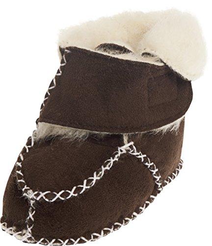 Playshoes Baby-Hausschuhe mit Klettverschluss, Braun (dunkelbraun 109), 20/21 EU