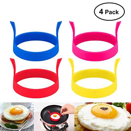 BESTOMZ 4 Farben Round Shaped Silikon Ei Fry Form Omelettes mit Griff (zufällige Farbe)