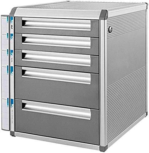 Ablageschränke Aktenschränke Vertikal 5 Drawer Desktop Datenaufbewahrungsbehälter aus Aluminium Key Lock Büroschrank Grau 31.5 * 35 * 39.8cm Bürobedarf