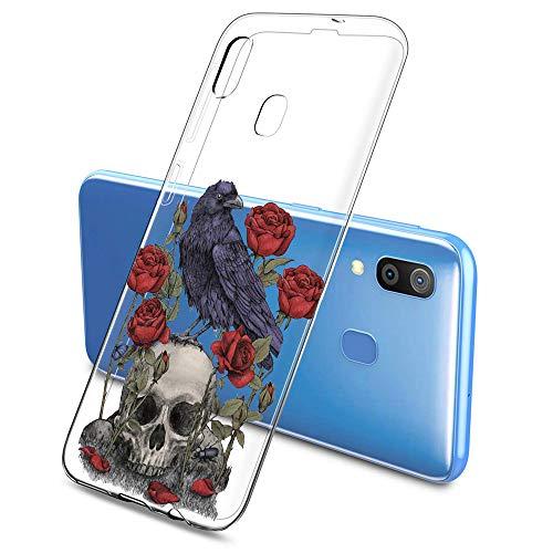 Oihxse Clair Crystal Soft Silicone Compatible pour Samsung Galaxy S20 Ultra 5G Coque Transparente TPU Crâne Rose Motif Design Housse Ultra Mince Protection Antichoc Etui(E10)