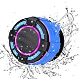 KKUYI Shower Speaker, IPX7 Waterproof Wireless Bluetooth Speaker with FM Radio/Super Bass HD Sound/LED Lights/Suction Cup for Bathroom, Beach, Pool, Bike, Outdoor Home