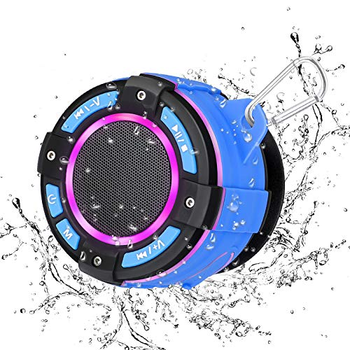 Shower Speaker, FM Radio, KKUYI IPX7 Wireless Waterproof Bluetooth Speaker with Super Bass HD Sound, 7 Colorful Light Show, Suction Cup, for Bathroom, Beach, Pool, Bike, Outdoor Home (2020 Upgrade)