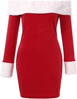 GOTD Christmas Women Off Shoulder Long Sleeve Mini Dresses Santa Claus Bodycon Dresse