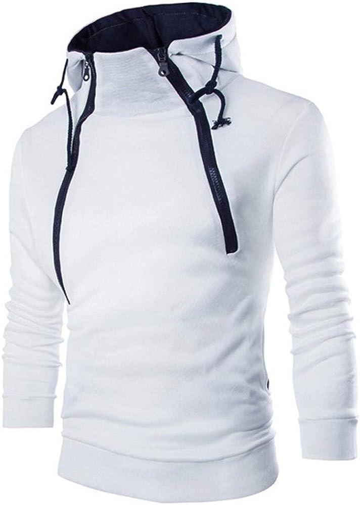 Men's Casual Lightweight Solid Drawstring Zip Up Hoodies Fleece Sweatshirt Pullover Top