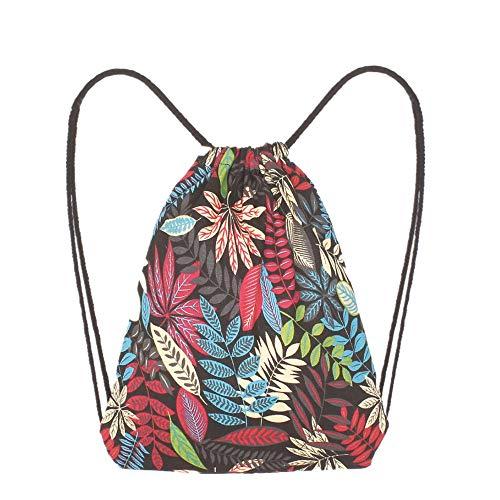 ASHOP Frauen Mädchen Tasche Elegant Rucksack Outdoor Sportbeutel Blätter Bedrucken Beuteltasche Turnbeutel Damen (Schwarz)