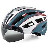 FUNWICT Casco Bicicleta Hombre Casco MTB con Gafas Magnéticas Extraíbles y Forro Interior Casco Bicicleta con Luz Trasera LED para Ciclismo 57-61 CM (Blanco Cian)